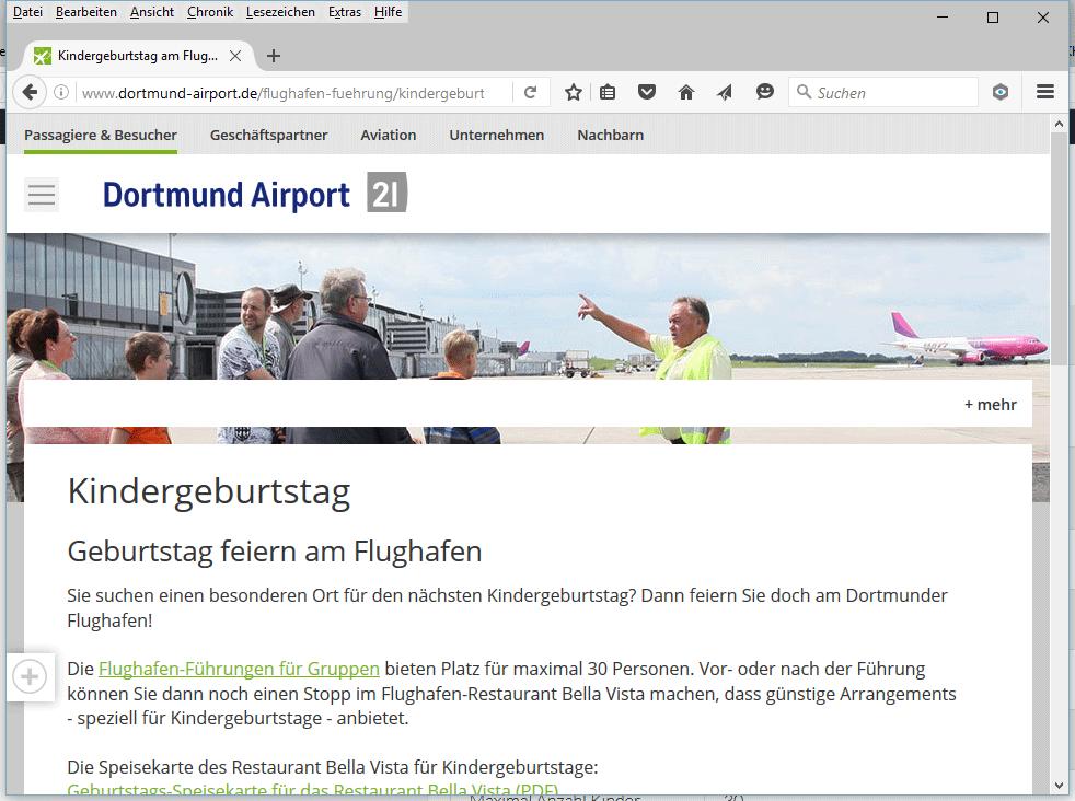 Kindergeburtstag Flughafen Dortmund